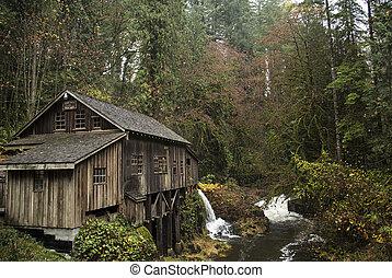 1876, cèdre, moulin,  grist, ruisseau