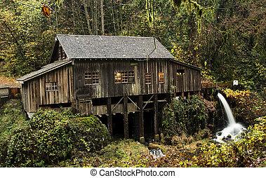 1876, cedro, moinho, grist, riacho