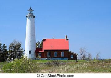 1876, tawas, leuchturm, gebaut, punkt