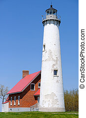 1876, tawas, phare, construit, point