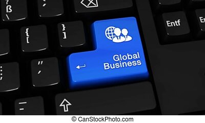 188. Global Business Rotation Motion On Computer Keyboard Button.