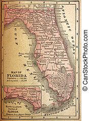 1880, karta, av, florida