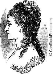 1882-1883, vindima, hairdressing, engraving.