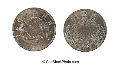 1887 Japan One Yen Silver Coin Japanese Dragon Year