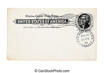 1899 cancelled antique post card from the United States with one cent stamp isolated on white background