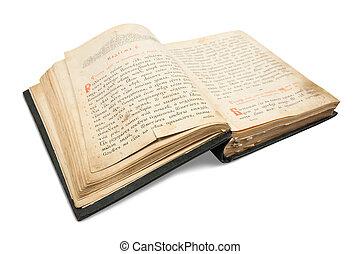18st, eeuw, ouderwetse , boek