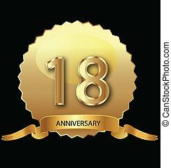 18th, aniversário, selo ouro