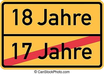 18th birthday - roadsign german