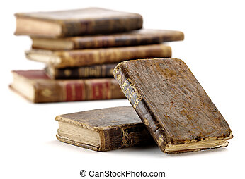 antique and aged 18 th century books isolated
