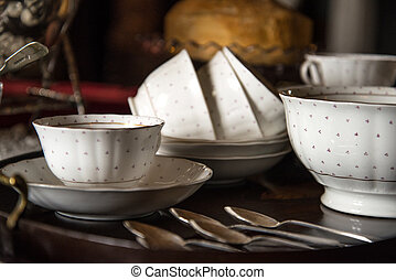 18th Century cups and saucers on inlaid wooden serving tray