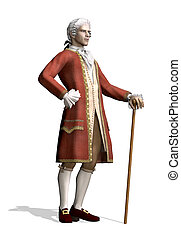 A man stands wearing 18th Century clothing - 3d render.