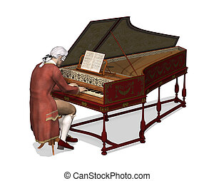 A man wearing 18th Century attire is playing the harpsichord - 3d render.