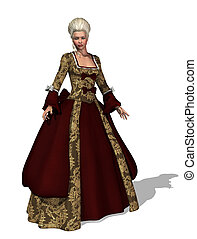An 18th century lady with roccoco style hair and gown - 3d render.