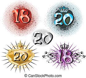 18th, compleanno, o, 20, anniversario
