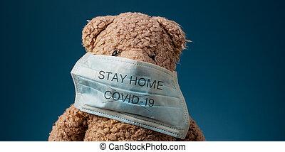 19, 家, 一時停止標識, 滞在, covid, 警告, ウイルス
