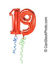 19, -, 数, 赤, 風船, リボン