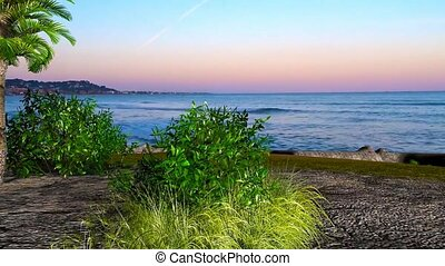19 3D animated landscape of tree and bushes on beach undet sunset sky