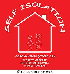 19, aislar, hogar, sí mismo, covid, coronavirus