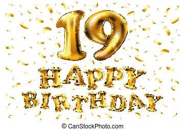 19 Anniversary celebration with Brilliant Gold balloons & colorful alive confetti. 3d Illustration design for your unique anniversary background,invitation,card,Celebration party the years anniversary