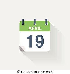 19, april, kalender, pictogram