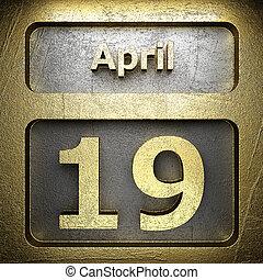 19, aprile, dorato, segno