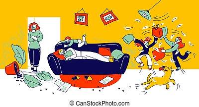 19, covid, isolation., mauvais, oreillers, combat, gens, vilain, caractères, enfants, behaviour., père, autour de, désordre, linéaire, jouer, illustration, gosses, faire idiot, quarantaine, baston, confection, dormir, vecteur