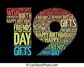 19, cumpleaños, palabra, nube, feliz