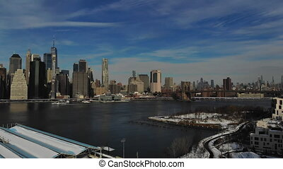 Skyline Manhattan office buildings NY with Aerial view of New York City panorama