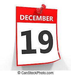 19 december calendar sheet with red pin. - 19 december...