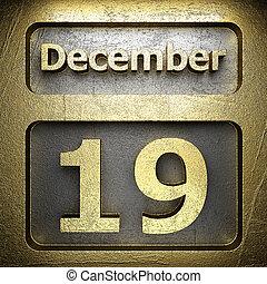 19, dicembre, dorato, segno