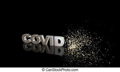 19, dissoudre, covid, particules, texte