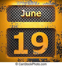 19, giugno, acciaio, dipinto