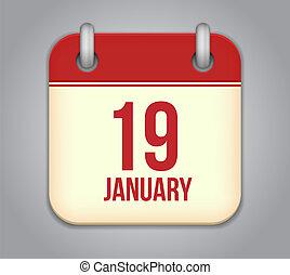 19, januari, app, vector, kalender, icon.
