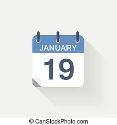 19, januari, kalender, pictogram