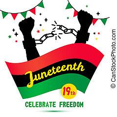 19, juneteenth, plano de fondo, día, white., junio, celebración