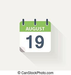 19, kalender, augustus, pictogram
