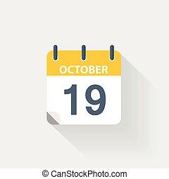 19, kalender, oktober, pictogram
