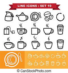 19, ligne, ensemble, icônes