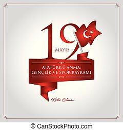 19 mayis Ataturku anma, genclik ve spor bayrami vector illustration. (19 May, Commemoration of Ataturk, Youth and Sports Day Turkey celebration card.)