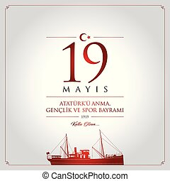 19 mayis Ataturku anma, genclik ve spor bayrami vector...