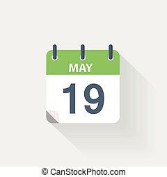 19, mei, kalender, pictogram