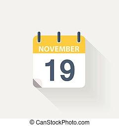 19, november, kalender, pictogram
