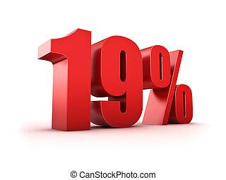 19 percent - 3D Rendering of a nineteen percent symbol