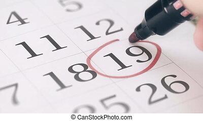 19, rappel, dix-neuvième, marque, jour, mois