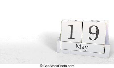 19, rendre, mai, calendar., bois, date, briques, 3d