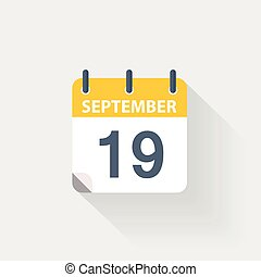 19, september, kalender, pictogram