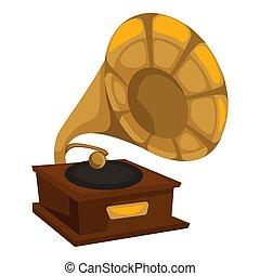1910s, ouro, disco, vinil, gramophone, tocando, estilo
