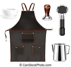 Barista equipment realistic set with pot cup black apron holder tamper isolated vector illustration