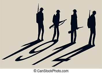 Four world war one soldiers cast a 1914 shadow.