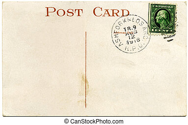 1916, ons, postkaart, en, franklin, 1, cent, postzegel